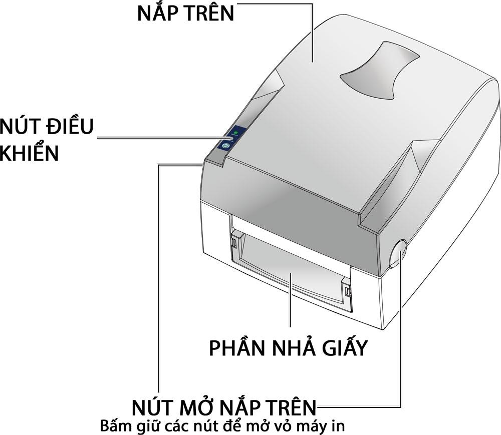 Cấu tạo chức năng bên ngoài máy in mã vạch Godex G500 Seriess